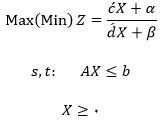 شکل عمومی معادله برنامه ریزی کسری خطی